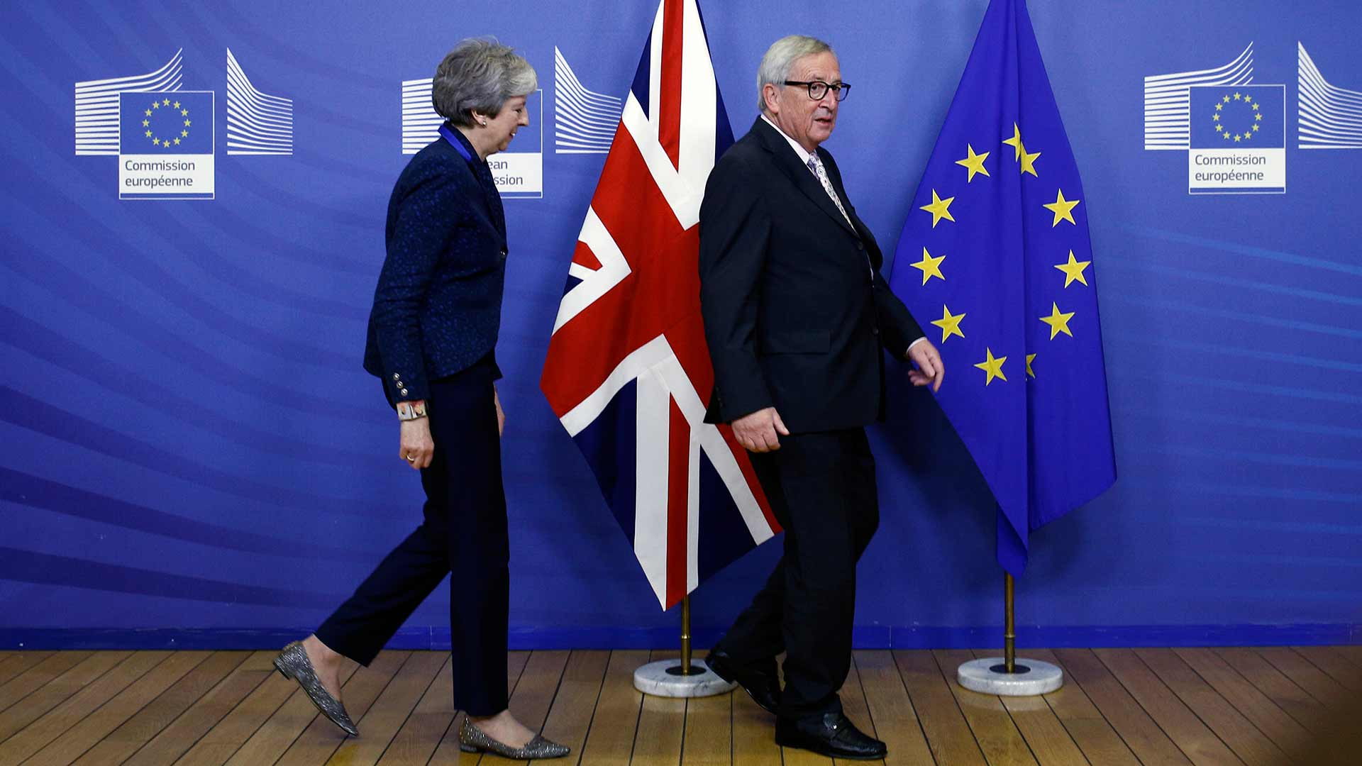Theresa May en Jean-Claude Juncker